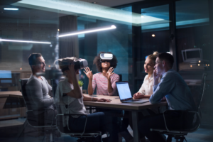 A group of people using virtual Reality in the office.
